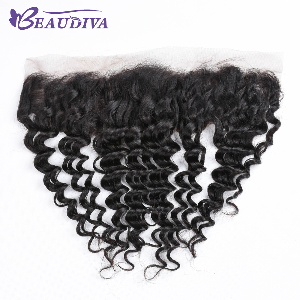 BEAUDIVA Pre Colored Lace Frontal Brazilian Deep Wave 13*4 Swiss Lace Free Part Non Remy Human Hair 1B Color