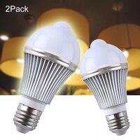 2 PCS 5 w PIR Sensor De Movimento Infravermelho LEVOU Luz Lâmpadas de Luz controle de Lâmpada LED E27 Automático Night Light Iluminação interior para escadas