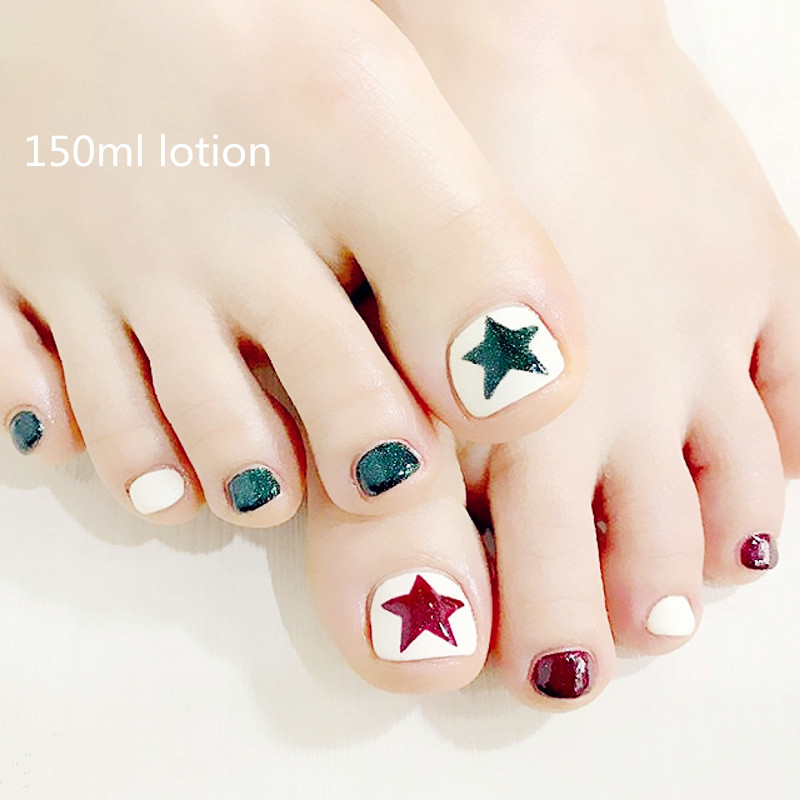 Red and green flash pink star toenail the finished product 24 boxes of fake fingernails