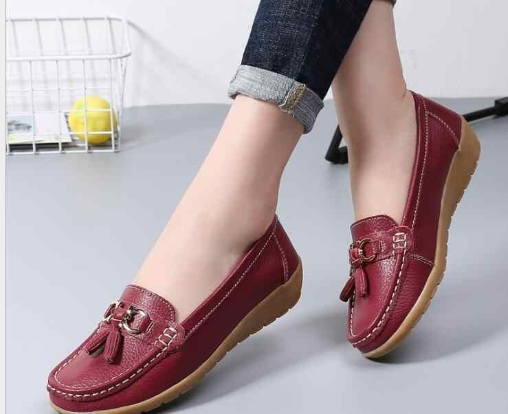 Yeni Ayakkabı Kadın Sığır Derisi Deri Kadın Ayakkabı Daireler Renkler ayakkabı Loafer'lar Üzerinde Kayma kadın düz ayakkabı Moccasins Artı Boyutu