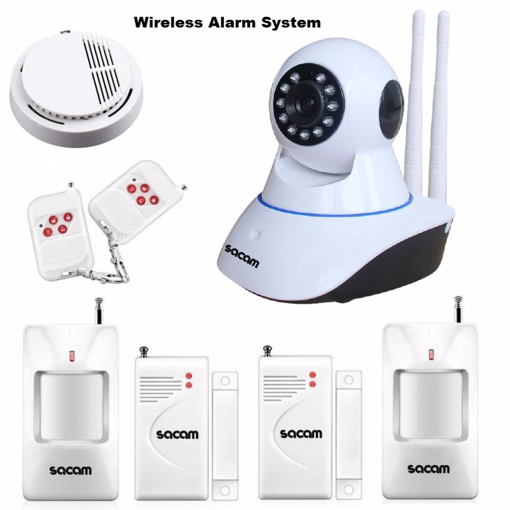 Alarm Systems Security Home Wireless IP Camera WiFi HD 720P Intruder Alarm House Burglar Kit Door Sensor PIR Detector CCTV Siren