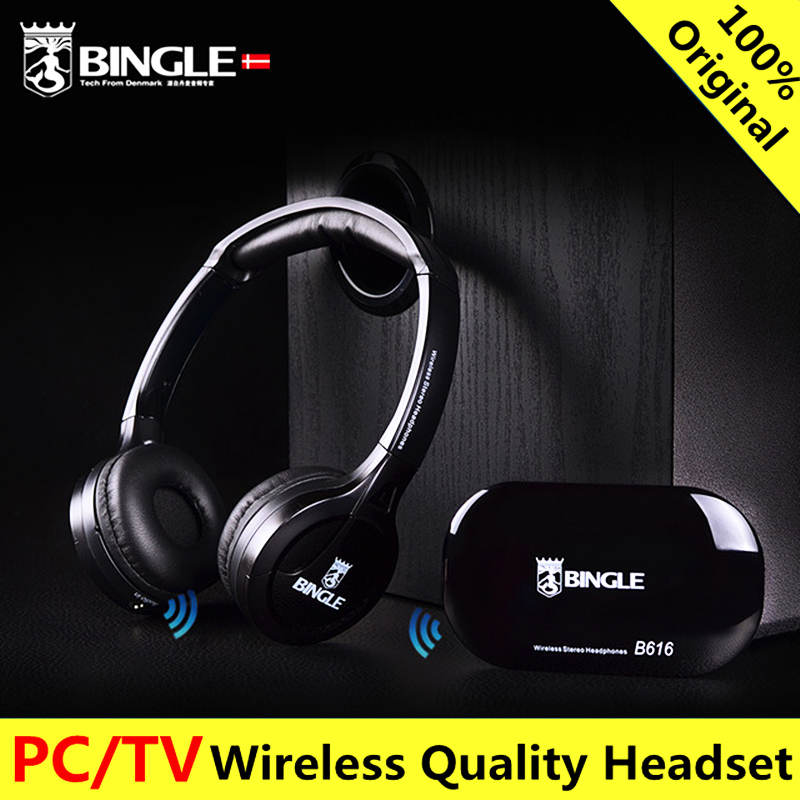 Original bingle B616 Computer TV Earphone Multifunction Wireless Headset Headphone with FM Radio for MP3 PC TV Audio new 5 in 1 hi fi wireless headset headphone earphone for tv dvd mp3 pc r179t drop shipping