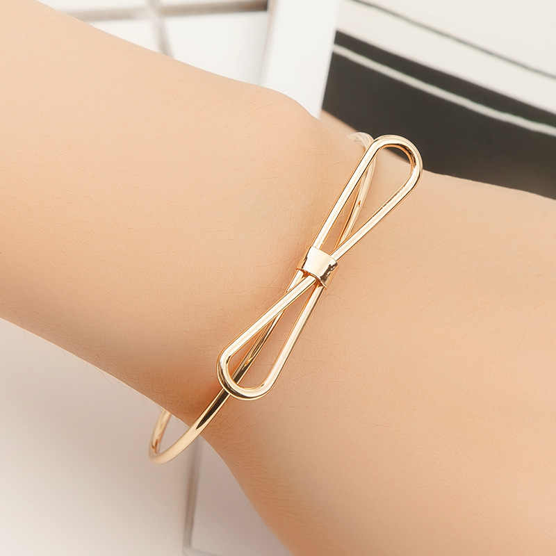 Rose Gold Silver Black Plated Bangle Open Cuff Adjustable Hollow Metal Simple Bow Knot Bracelets Women Men Hand Jewelry