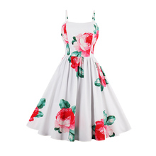Modstreets Для женщин Цветочный принт Платье Cami Спагетти ремень пляжные летние платья пикантные Дамские элегантные линии цветок Винтаж платье