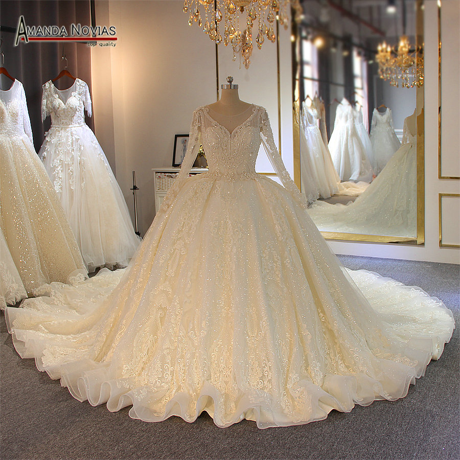 Stunning full beading shinny wedding dress long sleeves 2019 bridal dress real work amanda novias