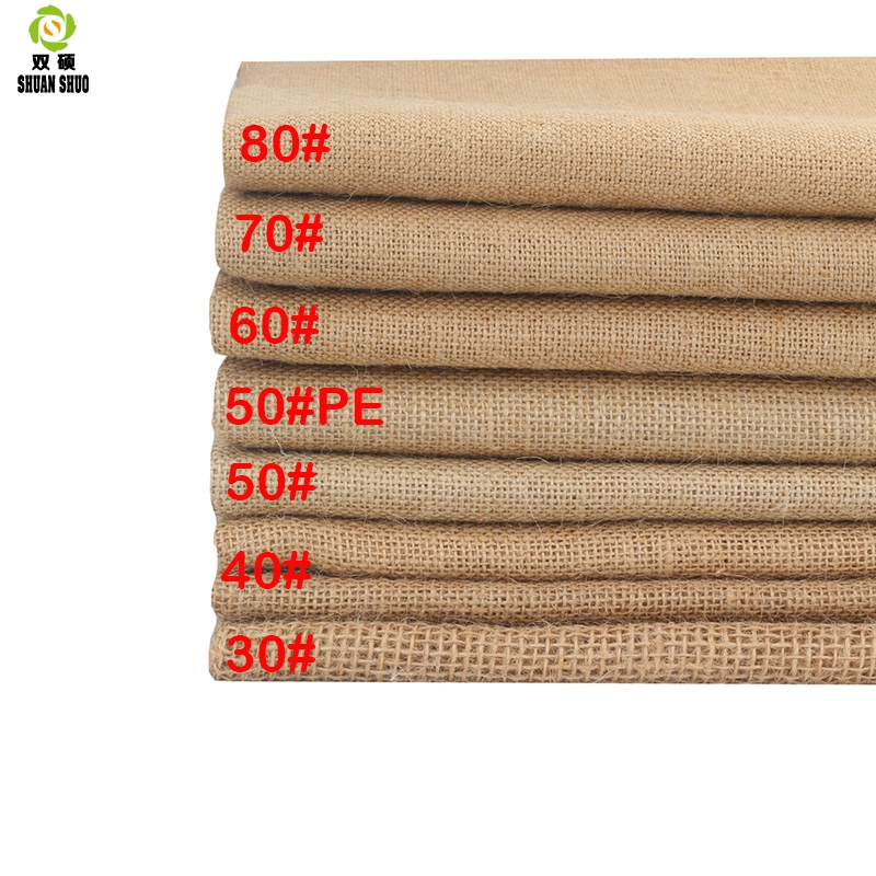 ShuanShuo 30#--80# Jute Fabric Sack Linen Cloth For DIY Hand Work, Storage Bags Christmas Decoration   160*50cm