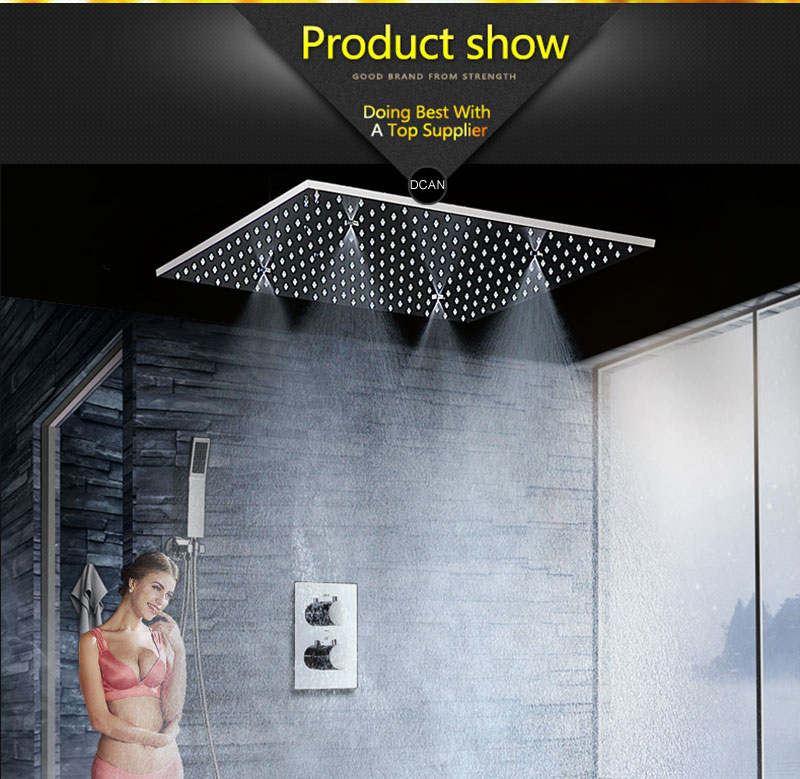 SPA Big Rain Shower Faucets Modern Shower Ceiling 20\'\' Showerheads Panel 304 Stainless Steel Shower Set & Bath Shower Mixer (13)