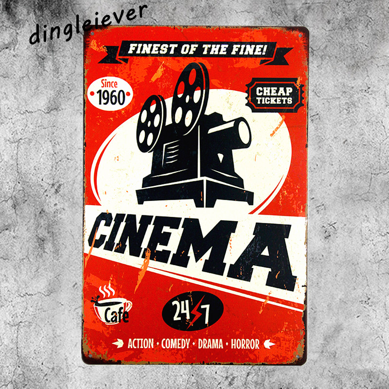 CINEMA vintage metal Sign home decoration accessories plates antique tray bar tin signs man cave