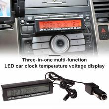 Plastic Digital Car Voltmeter Thermometer Two-color Celsius Fahrenheit Sensor In/ Out Illuminator Electronic Thermometer Clock