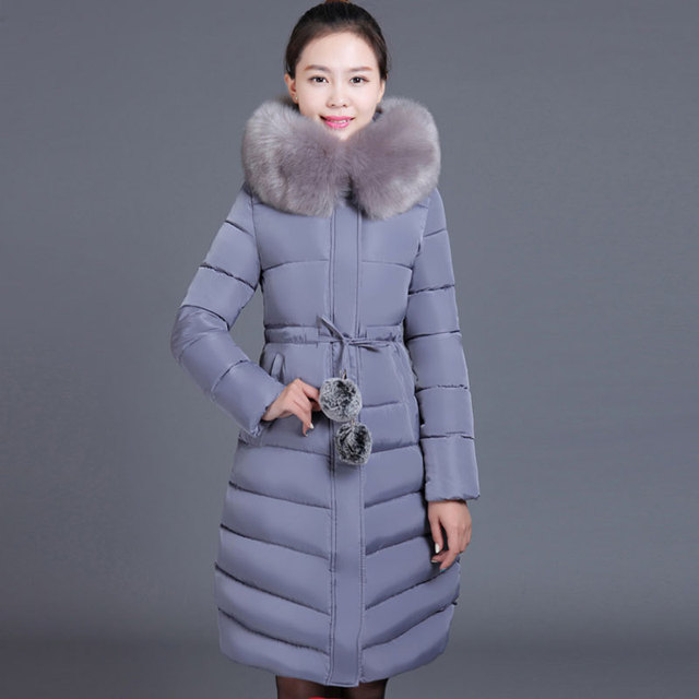 2016 Winter Jacket Women Medium-long Slim Plus Size Thick Larger Fur Collar Cotton-padded Outerwear Parka Wadded Jacket KP1384