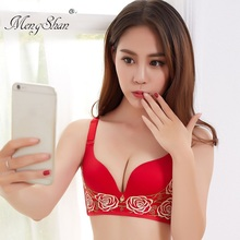 New Rose Lace Embroidery lace Sexy Underwear for Massage push up bra Deep V breathable gathering brassiere sexy 90C