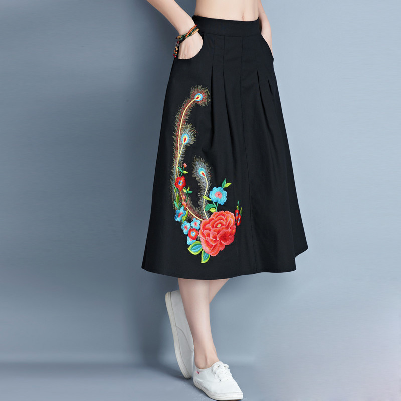 Women Floral Embroidered Long Skirt Lady Girls Cotton Linen Chinese Style Spring Summer Autumn Pockets A-Line Mid-Calf Skirt