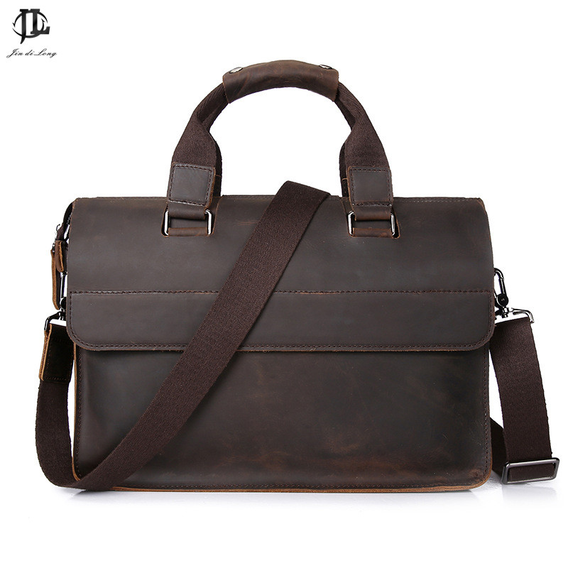 Luxury Crazy Horse kulit Asli Canvas Retro Pria Briefcase Satchel Handbag Bisnis Bahu Laptop Zipper Messenger Bag
