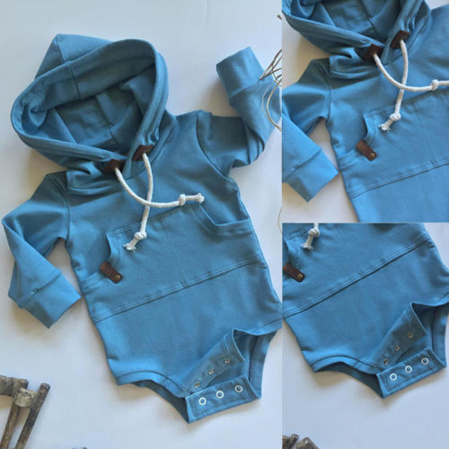 Emmababy Baby Boys Girls  Clothes  Hooded Solid Long Sleeve Top  Bodysuit Sweatshirt Hoodie Outfits Clothes 0-24m