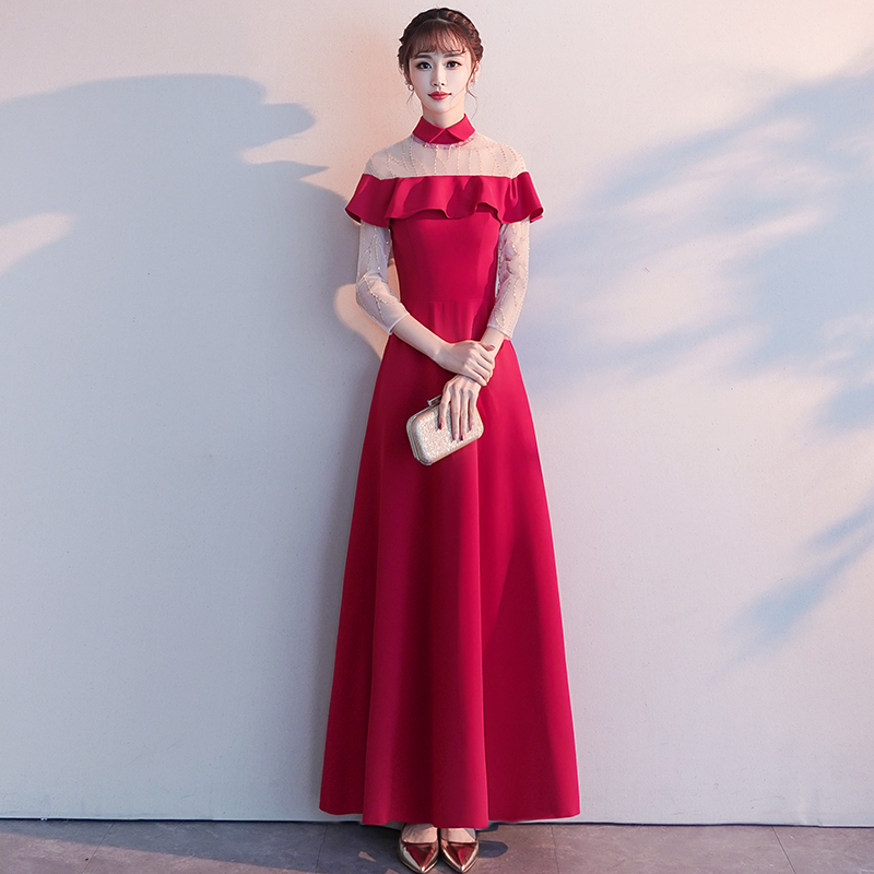 Classic Red Women Marriage Gowns Elegant Chinese Ladies Satin Wedding Dress Full Length Cheongsam Fashion Slim Qipao Vestidos