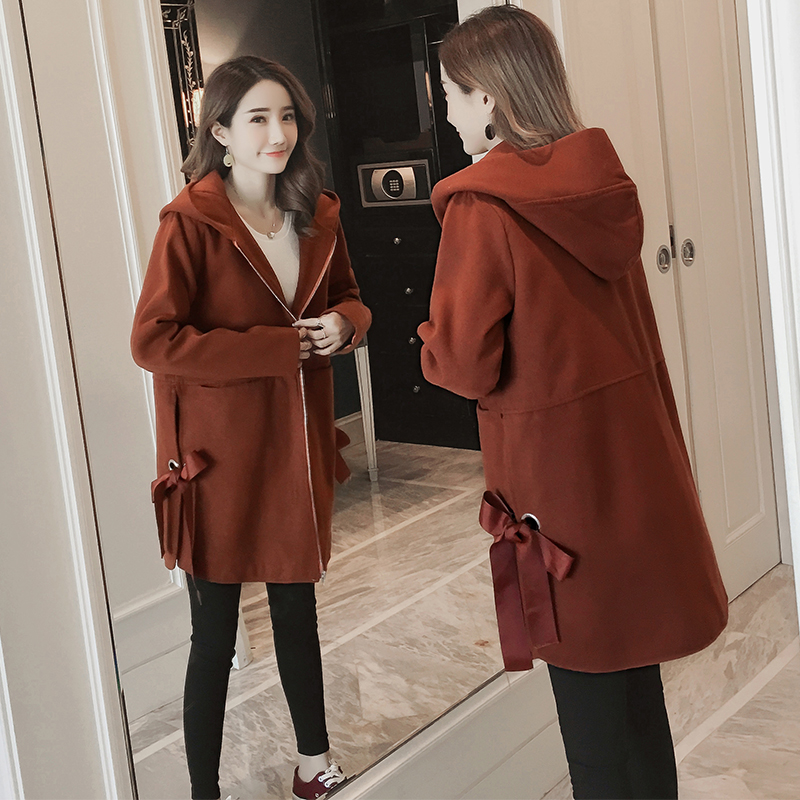 2018 autumn winter maternity bowknot woolen clothes hooded pregnant coat quilted thickening outwear jackets+pockets вода ducray иктиан увлажняющая мицеллярная вода 400 мл