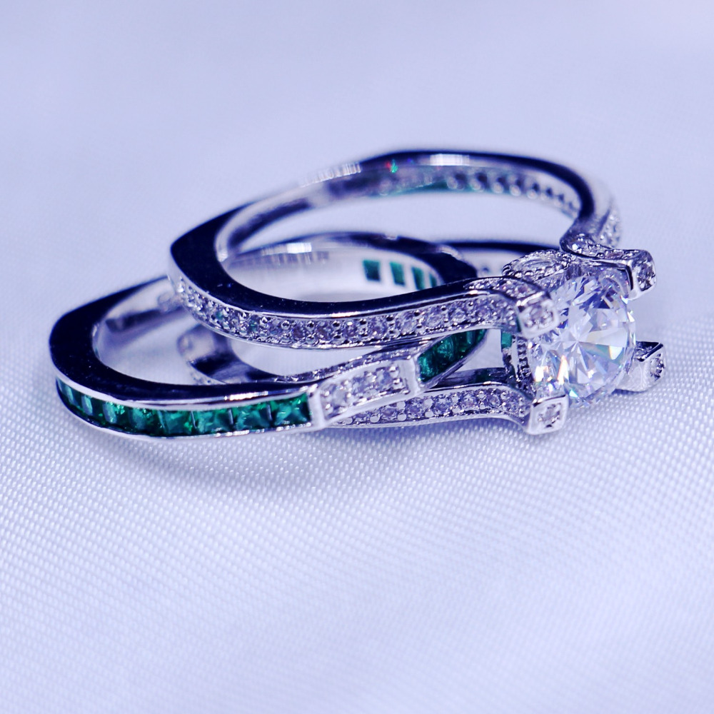 Vecalon feminino jóias de luxo anel de noivado verde aaaaa zircon cz 925 prata esterlina anel de casamento conjunto para mulher - 3