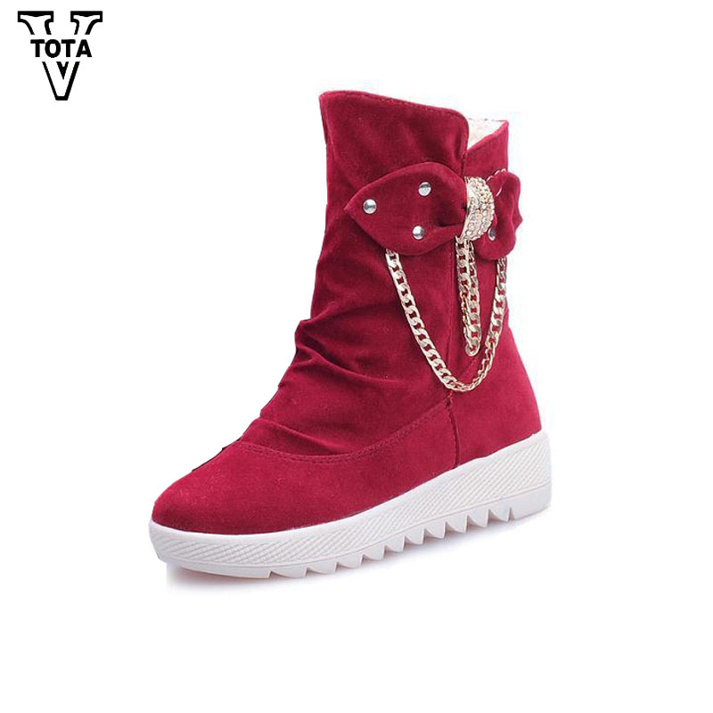 VTOTA High Quality Women's boots Warm Winter Women Shoes Snow Boots Flock Wedges Ankle Boots Platform Shoes Woman Med Heels SM05 only true love high quality women boots winter snow boots