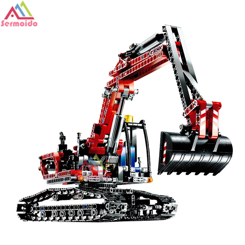 Decool Genuine Technic Series the Red Engineering Excavator Set Building Blocks Bricks Educational Toys Boys Gift 8294 B274 black pearl building blocks kaizi ky87010 pirates of the caribbean ship self locking bricks assembling toys 1184pcs set gift
