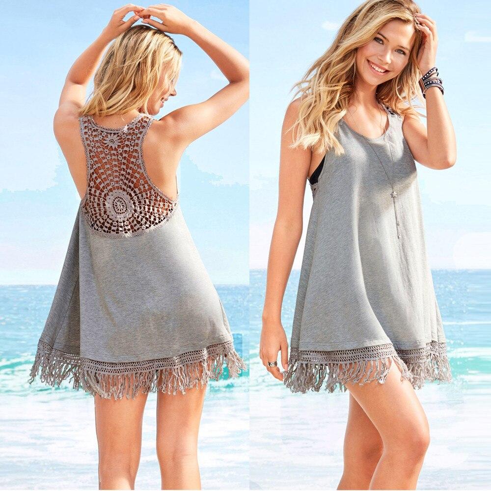 Летнее платье пикантные Для женщин Чешский кисточкой спинки Hollow Свободные Платья вечерние пляжное платье Сарафан Для женщин одежда Vestidos