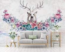 beibehang Modern three-dimensional fashion wall paper Nordic hand-painted flowers elk TV background wallpaper