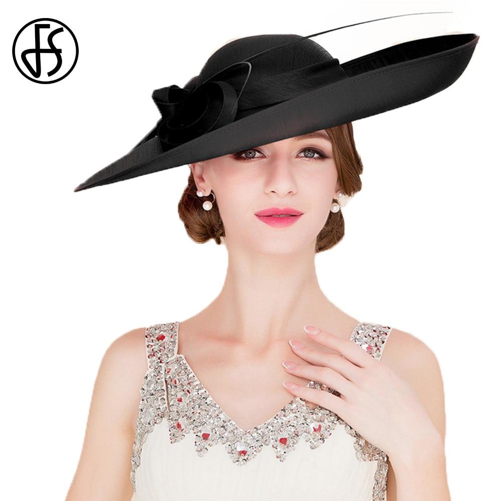 Women Lady Fascinator Wide Brim Church Kentucky Derby Hat Wedding Tea Party Cap
