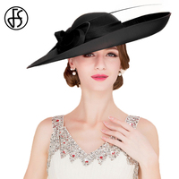 FS Fascinators Big Brim Kentucky Derby Hat Royal Weddings Hats Elegant Women Dresses For Church Lady Black Red Tea Party Fedora