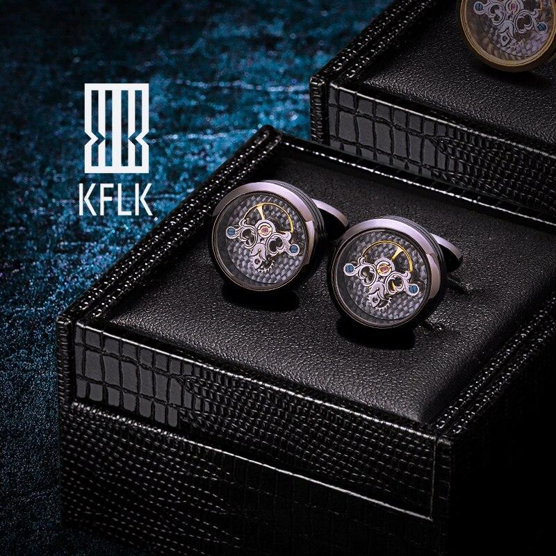 KFLK Black Shirts Cufflinks For Men's Brand Watch Tourbillon Movement Mechanical Cuff Links Buttons High Quality  Free Shipping