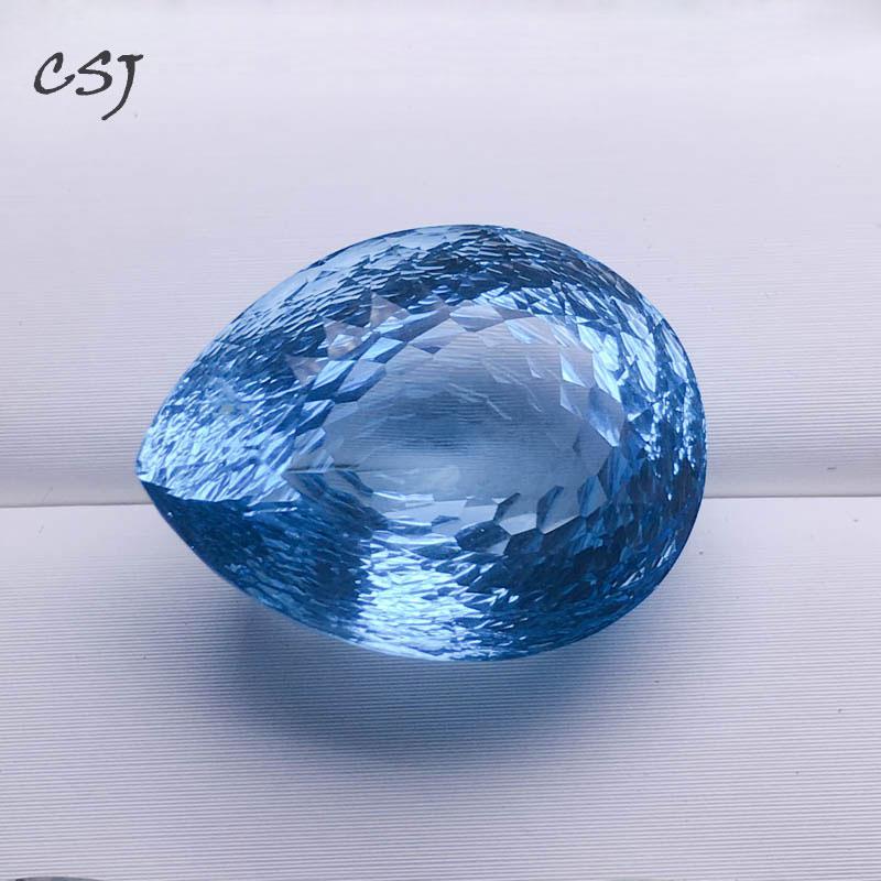 CSJ topaze bleue naturelle lâche pierre précieuse grande pierre Pear18 * 23 MM 36ct nid d'abeille coupe pour bijoux à bricoler soi-même 925 argent or montage
