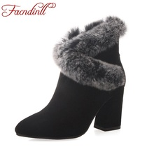 FACNDINLL 2017 new fashion women autumn winter women ankle boots shoes high heels zipper real leather dress party riding boots