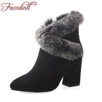 FACNDINLL 2017 novas mulheres da moda outono inverno botas de tornozelo mulheres sapatos de salto alto com zíper verdadeira festa vestido de couro botas de montaria