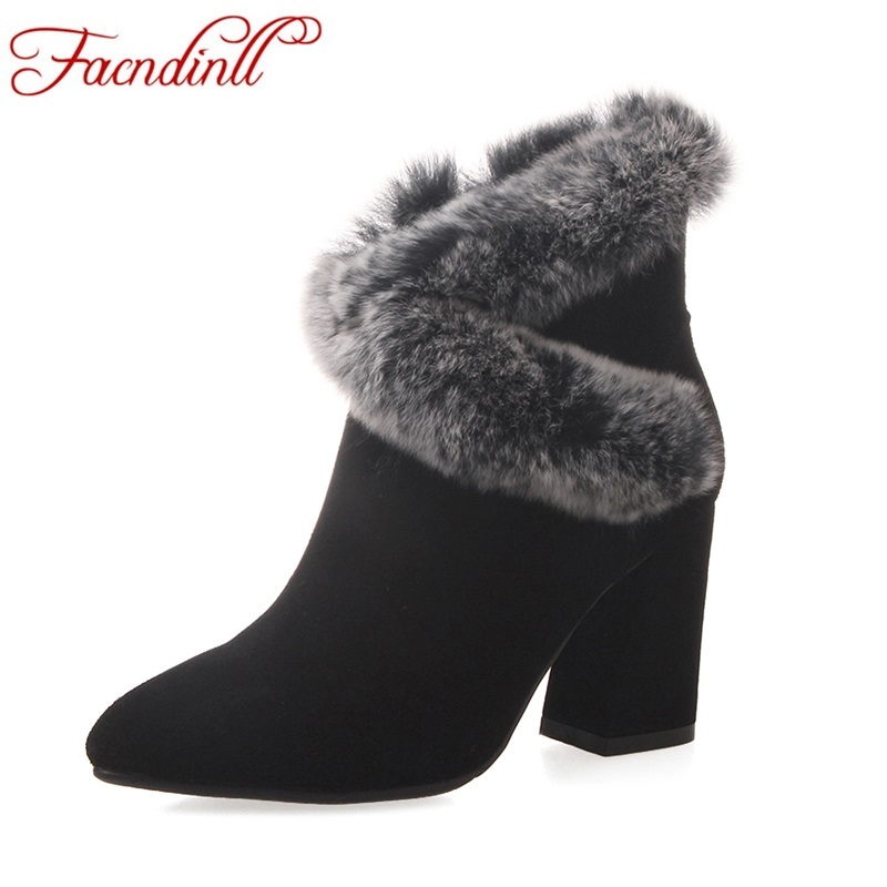 FACNDINLL 2018 new fashion women autumn winter women ankle boots shoes high heels zipper real leather dress party riding boots