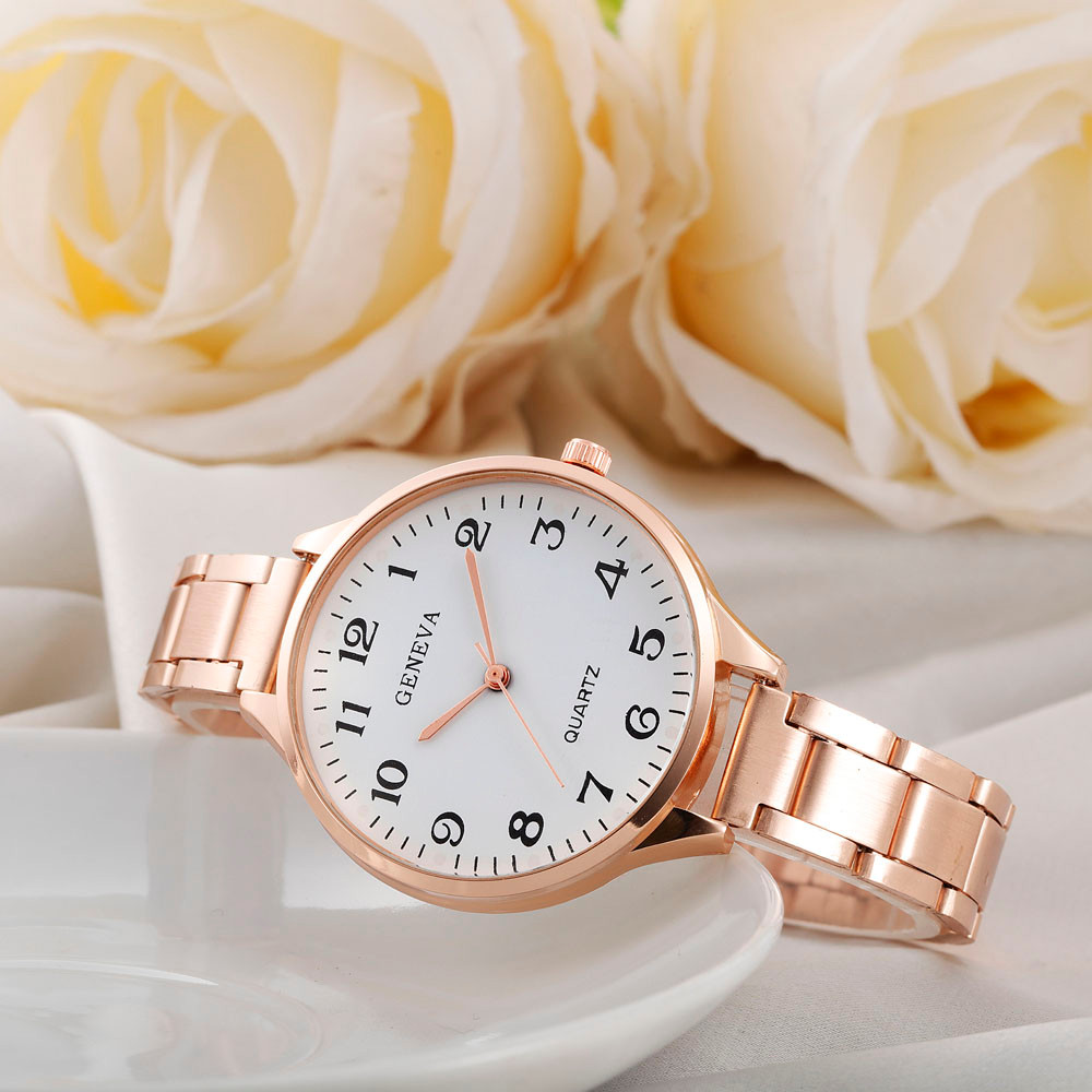 Erkek Kol Saati Rose Gold Womens Stylish Fashion Watch Roman Numberals Stainless Steel Big Dial Watch Quartz Sports Watch