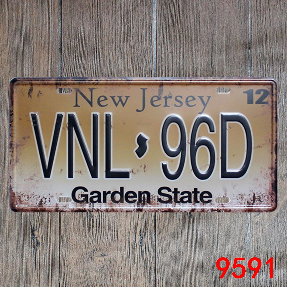 Car number  New Jersey VNL-96D  License Plates plate Vintage Metal tin sign Wall art craft painting 15x30cm