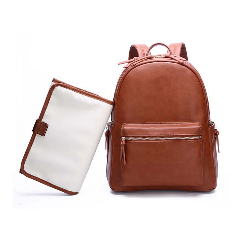 Multi-function PU leather Mummy bag maternal and child backpack new fashion shoulder diaper tote simple travel