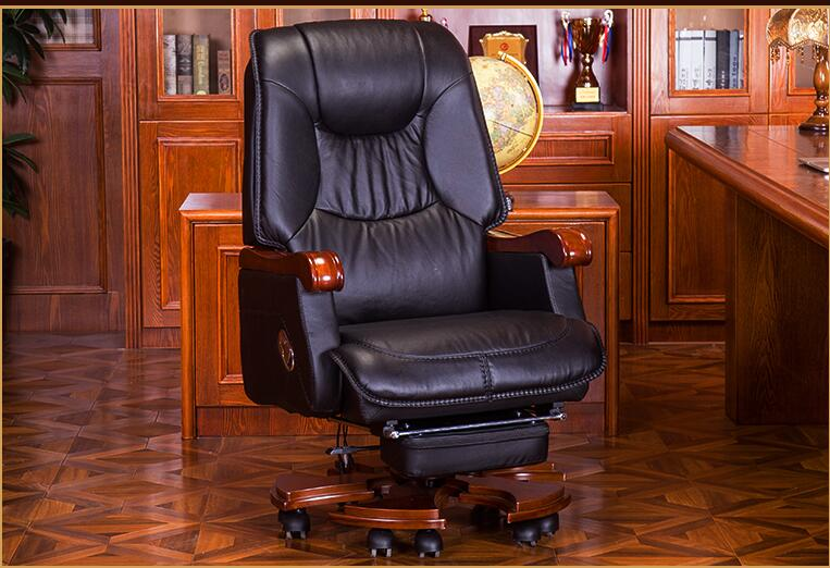 Купить с кэшбэком European leather boss chair home office chair solid wood leather chair massage reclining computer chair.