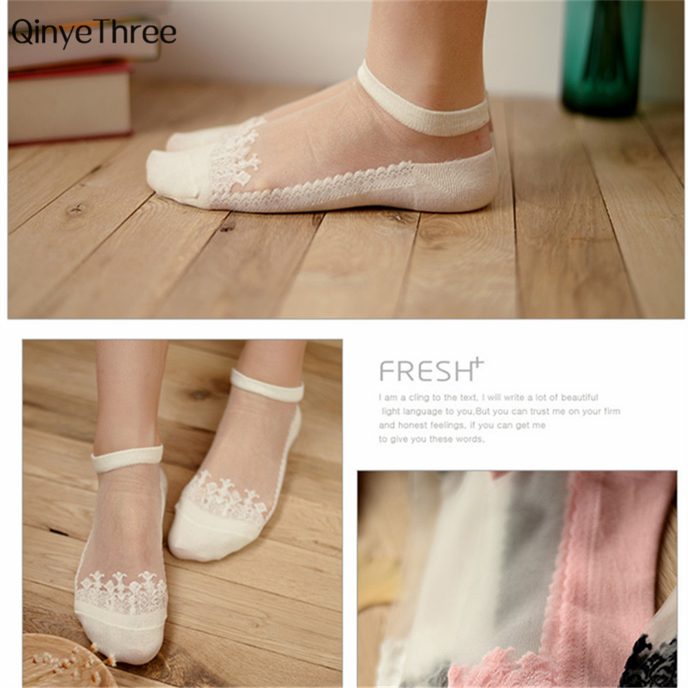 Women Fashion Lace Invisible Thin   Socks   Summer Korean Sweety Ultrathin Transparent sokken Candy color Crystal Lace Short   Sock