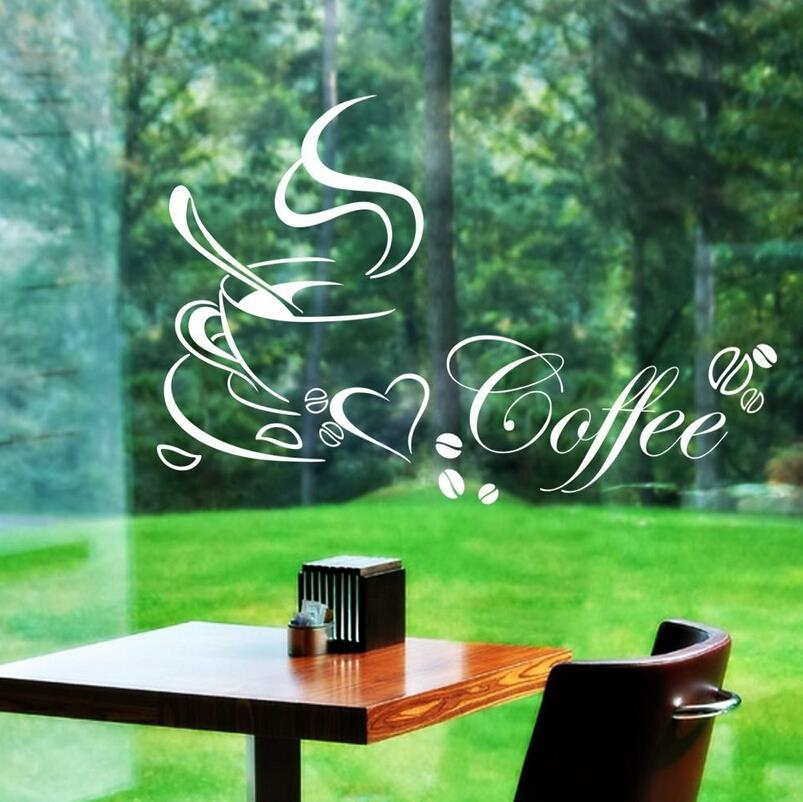 2015 new design letter removable kitchen decor coffee cup home decals black white vinyl art wall