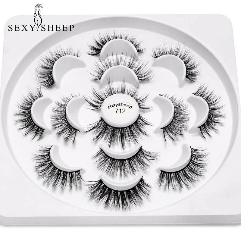 SEXYSHEEP 7Pairs 3D Natural Long  Eyelashes 100% Cruelty Free Lashes Reusable  False Eyelash Curler Popular Lashes Makeup