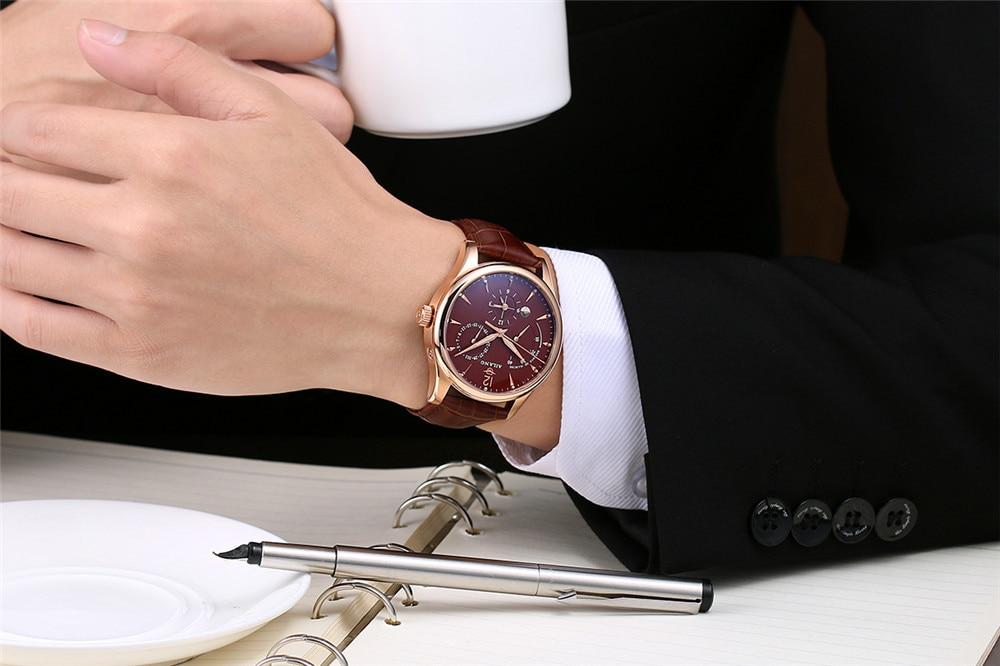 AILANG 기계식 시계 남성 정품 가죽 시계 달력 방수 - 남성 시계 - 사진 5