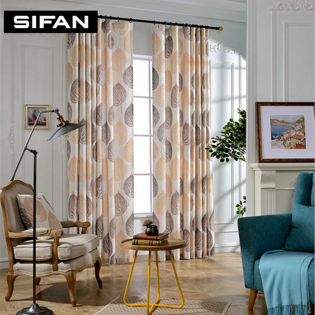 High Quality Yellow Leaves Printed Faux Linen Curtains For The Bedroom  Windows Drapes Fabric For Living