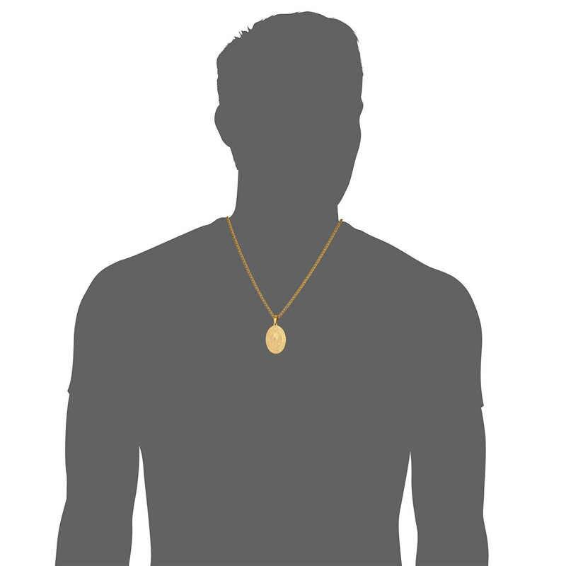Collare święty benedykt Medal wisiorek ze stali nierdzewnej owalne katolicki mężczyzn biżuteria złoty kolor Medal świętego benedykta naszyjnik kobiety P908