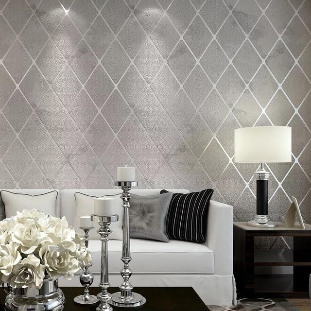 Photo collection flocking wallpaper living room for Carte da parato moderne