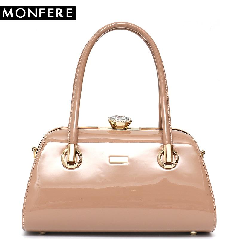 MONFERE Vegan Patent Leather Women Top-handle Bags Messenger Tote Case Box Bag Women Metal Frame Luxury Purses and Handbags 2018 metal handle winged tote bag