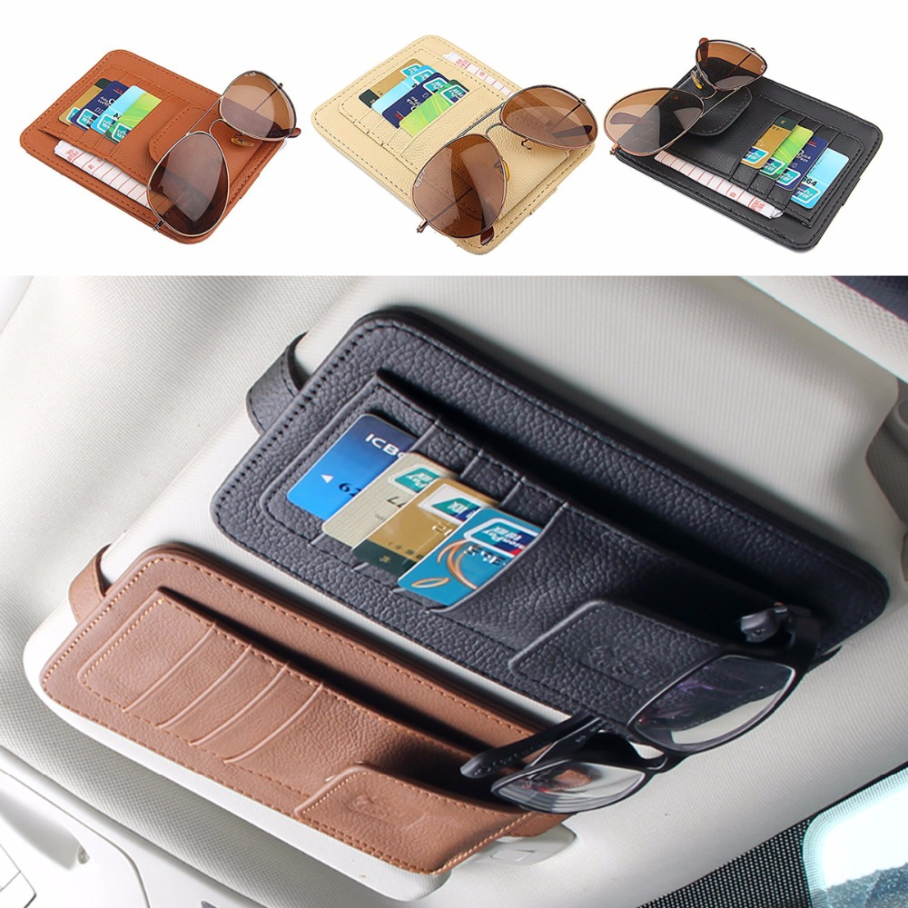 Genuine Leather Car Sunshade Card Case For Audi VW BMW Ford Fiat Mazda Toyota Peugeot Benz Lexus Maserati Mitsubishi Mini cooper