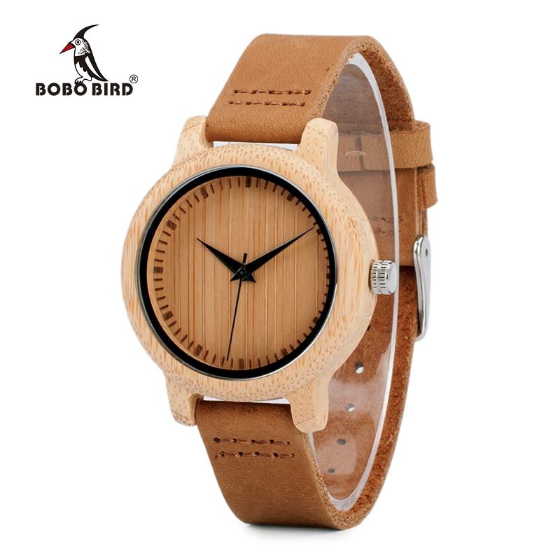 BOBO BIRD V-A10 Uniqu Mujer Bambú Reloj de madera Reloj de pulsera deportivo de cuarzo con correa de cuero genuino Montre Femme