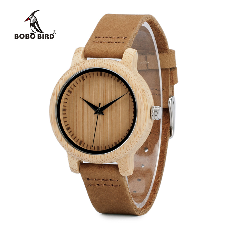BOBO BIRD V-A10 Unique Vogue Womens Bamboo Wooden Watch Quartz Outdoor Sport Watches With Genuine Leather Strap Montre Femme bobo bird v a10 unique vogue womens bamboo wooden watch quartz outdoor sport watches with genuine leather strap montre femme