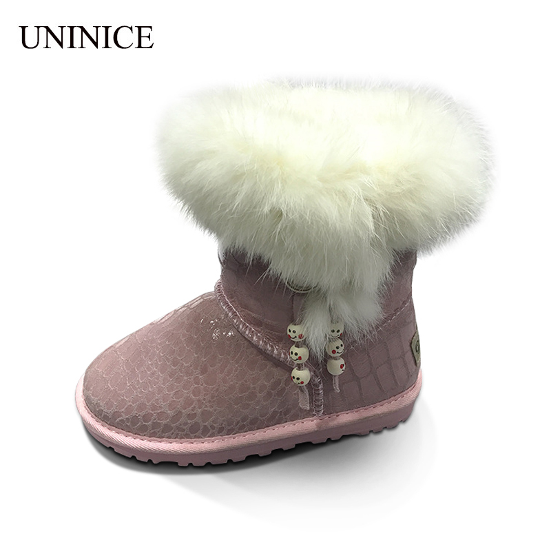 UNINICE Russia Winter Warm Girls Boots Children Shoes For Baby Girls Cow Leather Rabbit Fur Snow Boots Kids Non-slip Shoes kelme 2016 new children sport running shoes football boots synthetic leather broken nail kids skid wearable shoes breathable 49