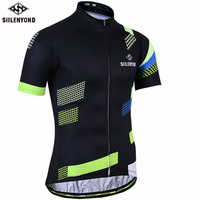 SIILENYOND 2018 Men Black Cycling Jersey Short Sleeves Cycling Clothing Racing Sport Jerseys Summer Breathable Bikewear