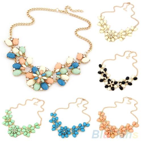 Bohemian Women's Resin Flowers Bib Statement Choker Collar Chain Necklace Pendant  00HI